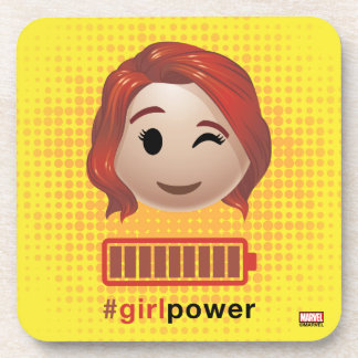 #girlpower Black Widow Emoji Drink Coaster