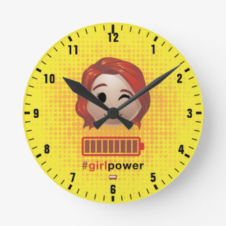#girlpower Black Widow Emoji Round Clock