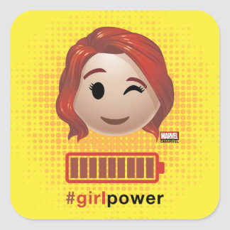 #girlpower Black Widow Emoji Square Sticker