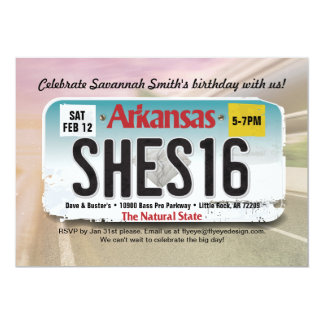 Girl's 16th Birthday Arkansas License Invitation