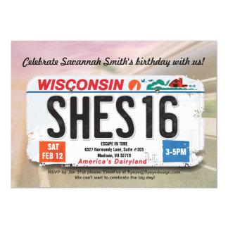 Girl's 16th Birthday Wisconsin License Invitation