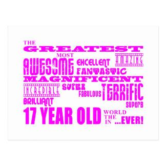 Girls 17th Birthdays : Pink Greatest 17 Year Old Postcard