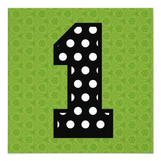 Girl's 1st Birthday Custom Name Modern Polka V14B Personalized Announcements
