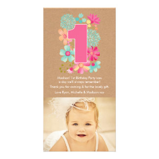 Girls 1st Birthday Number 1 Thank You Photo Card