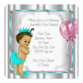 "Girls 1st Birthday Party 5.25"" Square Invitation Card"