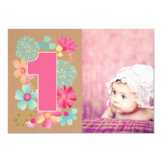 Girls 1st Birthday Party Number Photo Invitation