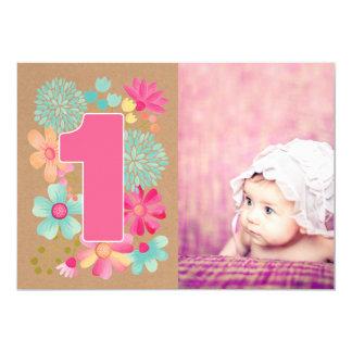 Girls 1st Birthday Party Number Photo Invitation