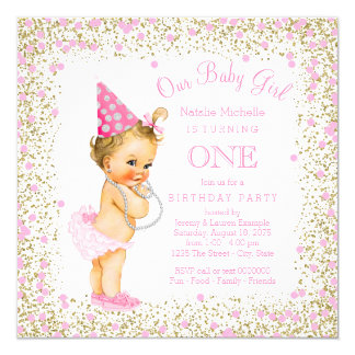Girls 1st Birthday Party Pink Gold Glitter 13 Cm X 13 Cm Square Invitation Card