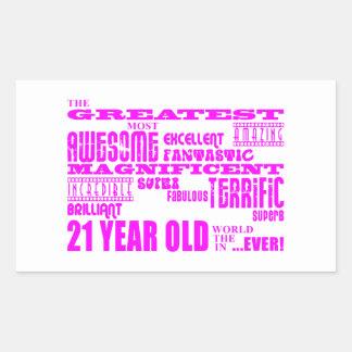 Girls 21st Birthdays : Pink Greatest 21 Year Old Rectangular Sticker