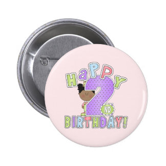 Girls 2nd Birthday African American Buttons