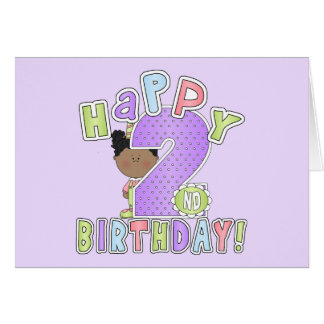 Girls 2nd Birthday,African American Greeting Card