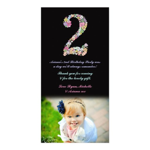 Girls 2nd Birthday Floral Thank You Photo Photo Cards