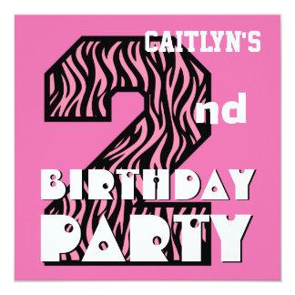 """Girl's 2nd Birthday Pink ZEBRA Custom Name V08 5.25"""" Square Invitation Card"""
