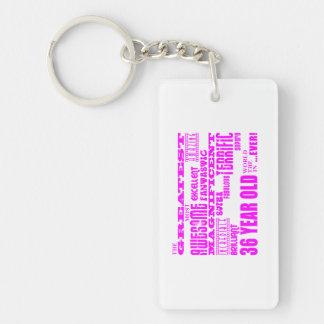 Girls 36th Birthdays Pink Greatest Thirty Six Double-Sided Rectangular Acrylic Key Ring