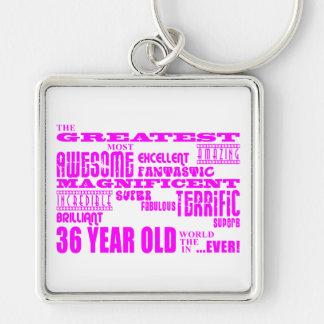 Girls 36th Birthdays Pink Greatest Thirty Six Key Chain