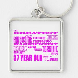 Girls 37th Birthdays Pink Greatest Thirty Seven Keychains