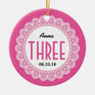 Girl's 3rd Birthday Memento Pink with Lace B03 Ceramic Ornament