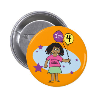 Girls 4th Birthday Button