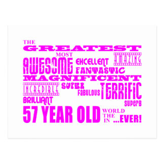 Girls 57th Birthdays Pink Greatest Fifty Seven Postcard