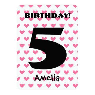 Girl's 5th Birthday Custom Name Modern W05 HEARTS Cards