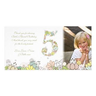 Girls 5th Birthday Neutral Blooms Thank You Photo Custom Photo Card