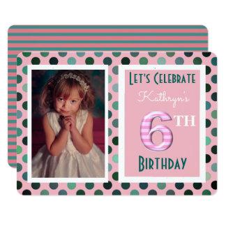 Girls 6th Birthday Party Invitation
