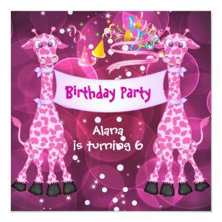 Girls 6th Birthday Party Pink Giraffe Kids Child Card