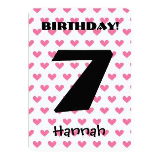 Girl's 7th Birthday Custom Name Modern W07 HEARTS Card