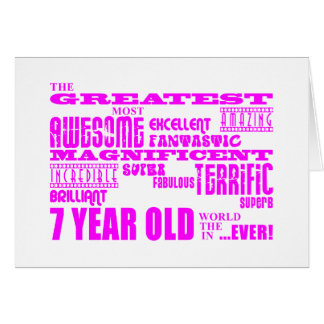 Girls 7th Birthdays : Pink Greatest 7 Year Old Note Card