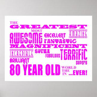 Girls 80th Birthdays Pink Greatest Eighty Print