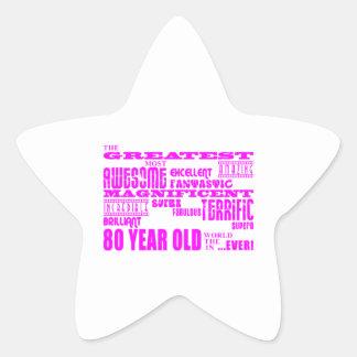 Girls 80th Birthdays Pink : Greatest Eighty Sticker