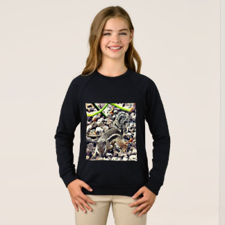 Girls American Apparel Raglan Black Sweatshirt