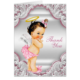 Girls Angel Baptism Thank You Note Card
