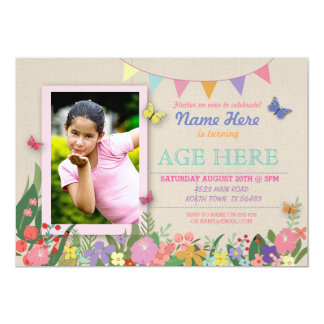 Girl's Any Age Butterfly Birthday Photo Pic Invite