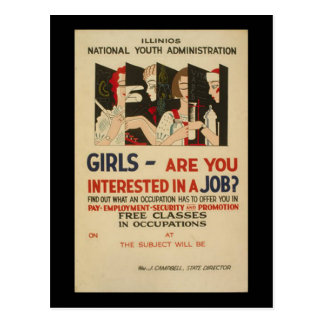 Girls - Are You Interested In A Job? Postcard
