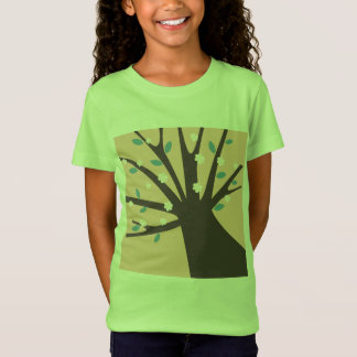 Girls artistic t-shirt with tree / green