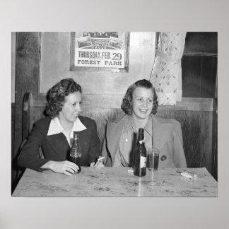 Girls at the Bar, 1940. Vintage Photo Poster