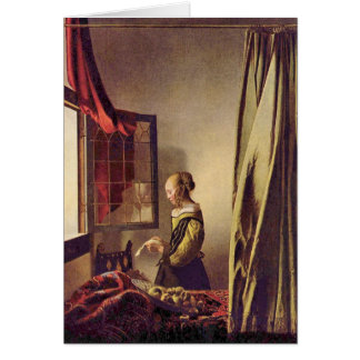 Girls at the open window by Johannes Vermeer Card
