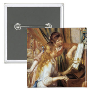 Girls at the Piano 15 Cm Square Badge