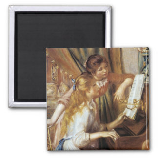 Girls at the Piano Square Magnet