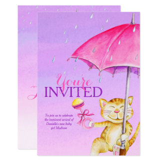 Girls baby shower umbrella whimsy cat invitations