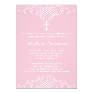 Girls Baptism Christening First Communion Card