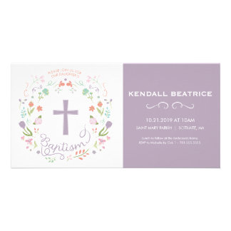 Girl's Baptism Invitation Card - Invite w/ Cross