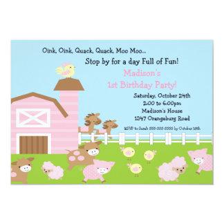 Girls Barn Animal Fun Birthday Party 13 Cm X 18 Cm Invitation Card
