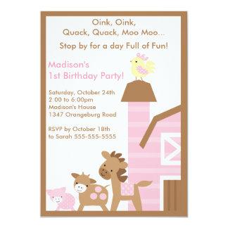 Girls Barn Animal Fun Birthday Party Card