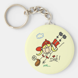 Girls Baseball Dive Tshirts and Gifts Basic Round Button Key Ring