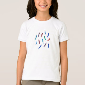 Girls' basic T-shirt with feathers
