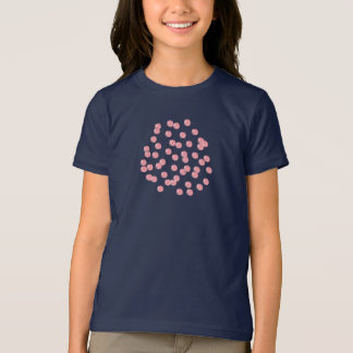 Girls' basic T-shirt with red polka dots
