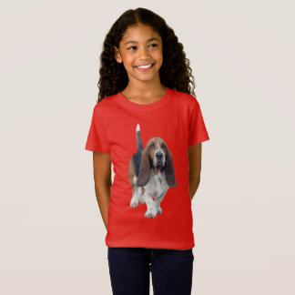 Girl's Basset Hound with Hearts Casual apparel T-Shirt