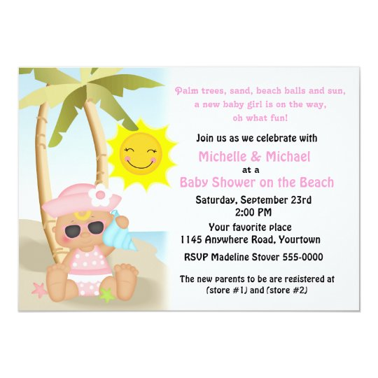 Girl's Beach Baby Shower Card